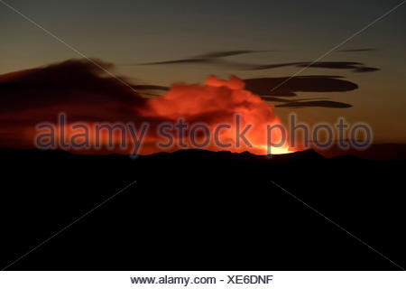 Ash and gas cloud of the Holuhraun fissure eruption, near the volcano Bárðarbunga, highlands, Northeast Iceland, Iceland - Stock Photo