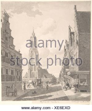 Marketplace of Delft with the Nieuwekerk. Artist: Gerrit Toorenburgh (Dutch, Amsterdam 1732-1785 Nijerk); Date: 18th century; Medium: Pen and gray - Stock Photo