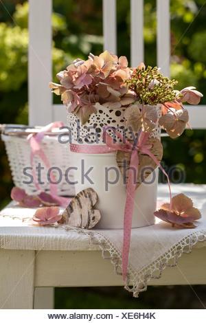 Material Birch Bark Vase Hydrangea Ribbon Procedure Cut Out The