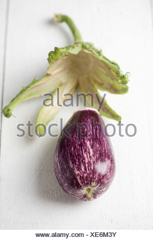 Eggplant with stem and sepals removed
