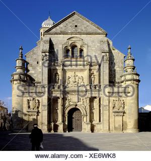 Facade of church, Sacra Capilla Del Salvador, Ubeda, Andalusia, Spain - Stock Photo