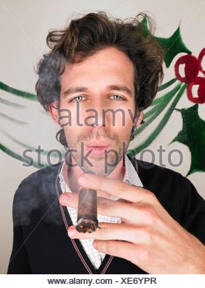 man at christmas party - Stock Photo