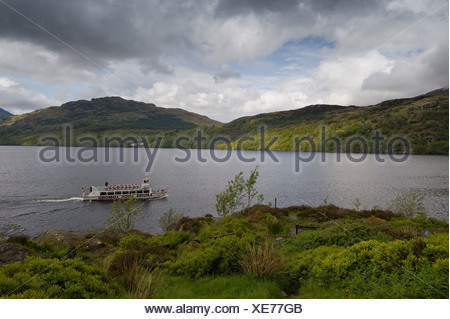 Excursion boat on Loch Lomond, Scotland, United Kingdom, Europe - Stock Photo