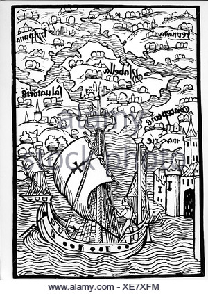 Columbus, Christopher, 1451 - 20.5.1506, Italian explorer, arriving in Hispaniola, 1492, contemporary woodcut, Basel, 1492, Additional-Rights-Clearances-NA - Stock Photo