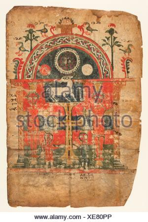 Double-Sided Gospel Leaf. Date: first half 14th century; Geography: Made in Tigray, Ethiopia; Culture: Ethiopian; Medium: Tempera on parchment; - Stock Photo