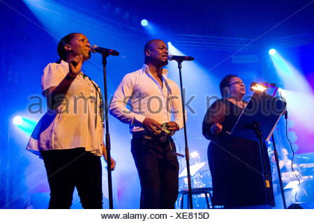 The British band The Allstars feat. Jocelyn Brown Live at the Blue Balls Festival in the Luzernersaal hall of the KKL in Lucern - Stock Photo
