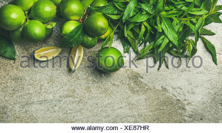 Flatlay of freshly picked organic limes and mint for making cocktail or lemonade over grey concrete stone background, top view, copy space, horizontal - Stock Photo