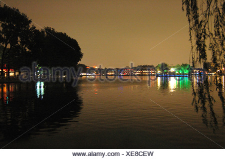 Night scene at Houhai bar area, Beijing, China - Stock Photo