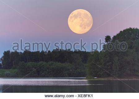 Vollmond ueber dem Dammer Bergsee, Dammer Berge, Niedersachsen, Deutschland - Stock Photo
