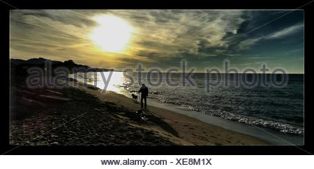 Panoramic Shot Of Silhouette Man With Dog Walking On Beach Against Sky - Stock Photo
