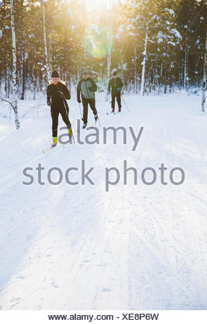 Sweden, Skiers outdoors in winter - Stock Photo