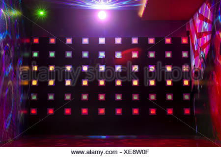 Disco with colorful lights - Stock Photo