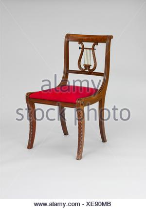 Side Chair. Date: 1805-15; Geography: Made in New York, New York, United States; Culture: American; Medium: Mahogany; Dimensions: 32 3/4 x 19 1/2 x - Stock Photo