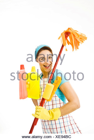 Cleaning lady at work - Stock Photo