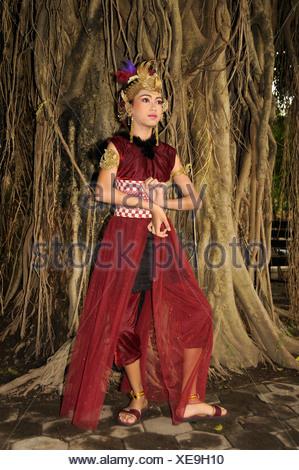 Student at a student performance of a traditional Javanese dance theater piece, Ramayama, Yogyakarta, Java, Indonesia - Stock Photo