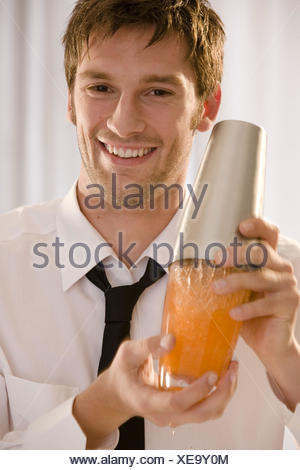 Barkeepers, shakers, smile, portrait, curled, - Stock Photo