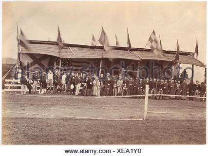 The Grand Stand, Foochow. Artist: Lai Fong (Chinese, 1839-1890); Date: ca. 1869; Medium: Albumen silver print from glass negative; Dimensions: Image: - Stock Photo
