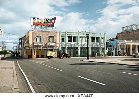 Propaganda of The Cuban Five ´Heroes´ Held in U S  Prisons, Plaza Jose Marti, Cienfuegos, Cuba. - Stock Photo