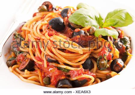 Spaghetti Alla Puttanesca - Stock Photo