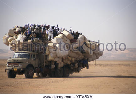 Chad, Borkou, wadi Doum, Sand runway, truck, overcrowds, Central, Africa, landlocked country, Sahara, desert, wild scenery, truck, truck, transport, promotion, costs, people, locals, florid - Stock Photo