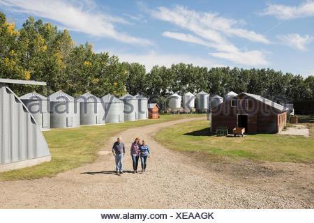 Family walking on sunny road on farm - Stock Photo