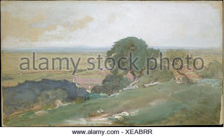 Olive Trees at Tivoli. Artist: George Inness (American, Newburgh, New York 1825-1894 Bridge of Allan, Scotland); Date: 1873; Medium: Gouache, - Stock Photo