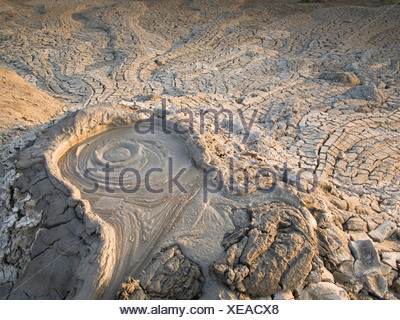 Azerbaijan, East, Asia, Caucasus, Quobustan, mud volcano, liquidly, mud, slime, slushy, mud hole, mud holes, volcano, bubble, ge - Stock Photo