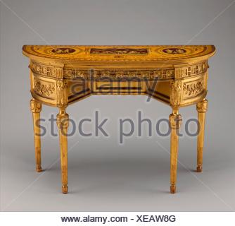 Side table. Designer: Probably after a design by John Yenn (British, London (?) 1750-1821 London); Date: ca. 1780; Culture: British; Medium: Carved, - Stock Photo