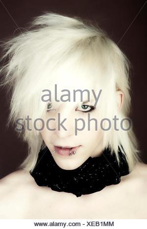 Man, Gothic, manga, face, pierced lip - Stock Photo