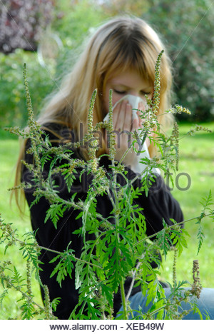 Woman reacting allergic to Ragweed - Stock Photo