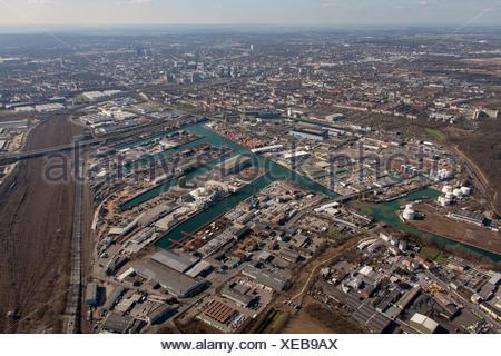 Aerial view, fisheye shot, Dortmund harbour, Dortmund-Ems Canal, Dortmund, Ruhr area, North Rhine-Westphalia - Stock Photo