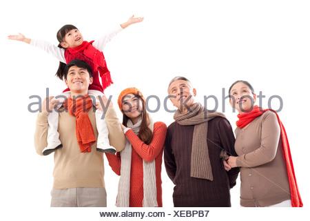 Portrait of a multi-generation family - Stock Photo
