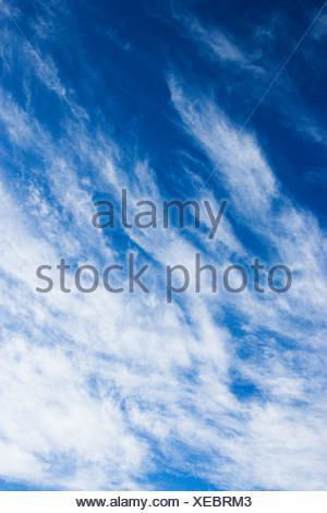 Beautiful blue sky with light wispy clouds - Stock Photo