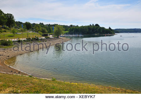Sorpesee, dam Sorpe, Langscheid, Sauerland, North Rhine-Westphalia, Germany, - Stock Photo
