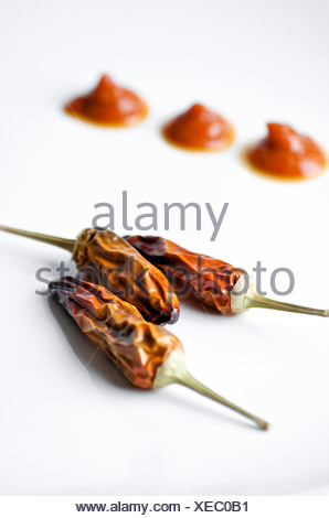 Three dried whole chili pepper and drops of red sauce against white background, Otterburn Park, Quebec - Stock Photo