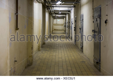 Berlin-Hohenschoenhausen memorial, former prison of the GDR's secret service, basement corridor in the 'U-Boat' tract with cell - Stock Photo