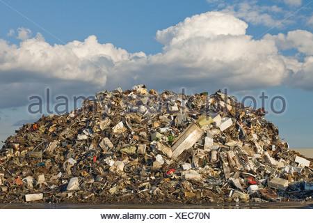Scrap pile in scrap yard - Stock Photo