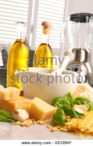 Ingredients for making italian pesto - Stock Photo