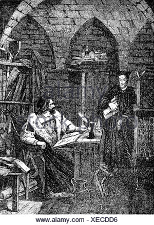 Faust, Johann Georg, 1480 - 1540, German magician, astrologer, mentalist, half length, in his study, print, Additional-Rights-Clearances-NA - Stock Photo