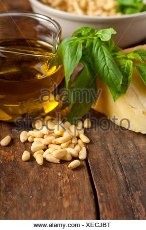 Italian basil pesto ingredients - Stock Photo