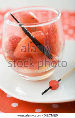 Tomato and strawberry salad with vanilla vinaigrette - Stock Photo