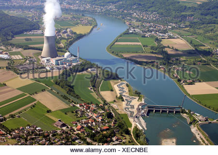 River Rhine with nuclear power plant Leibstadt in Switzerland - Stock Photo