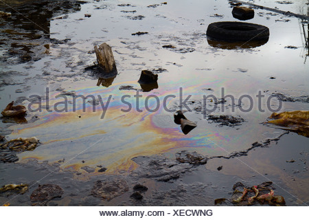 Trash in oil pools in the oil fields in Balakhani, Azerbaijan. - Stock Photo