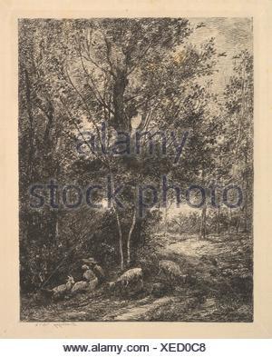 Shepherd and Shepherdess. Artist: Charles-François Daubigny (French, Paris 1817-1878 Paris); Date: 1874; Medium: Etching; first state; Dimensions: - Stock Photo