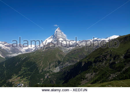 the matterhorn in switzerland is with 4478 meters one of the highest mountains in the alps. - Stock Photo