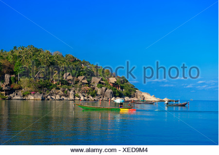 Boats, Sai Ree, Beach, Koh Tao, Thailand, Asia, - Stock Photo