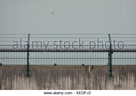 Germany, Bavaria, Wall with barb wire - Stock Photo