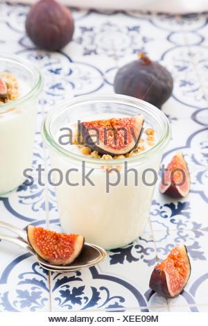 Greek yogurt with granola and figs - Stock Photo