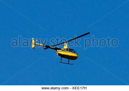 Black and yellow helicopter, Air Lloyd Robinson R44 Raven II, flying against a blue sky