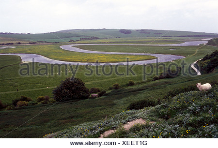 Cuckmere River meandering through countryside South Downs Sussex UK - Stock Photo